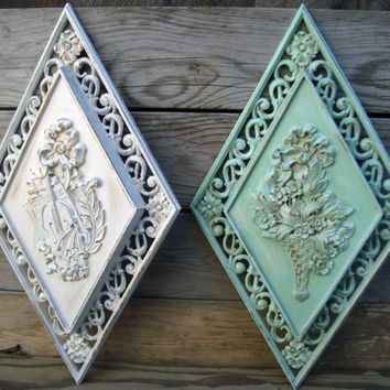 Vintage Pair of Painted  Syroco Wall Plaques, Cottage Chic Green and White Detailed Wall Decor, Up Cycled Shabby Chic Wall Hangings