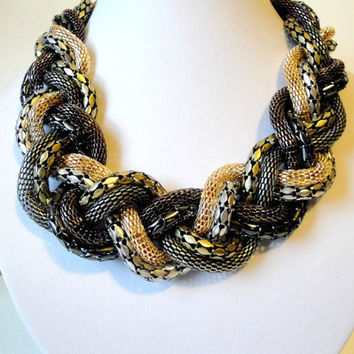 Free Shipping: Statement Necklace, Multi Chain, Bronze, Gold, Gun Metal