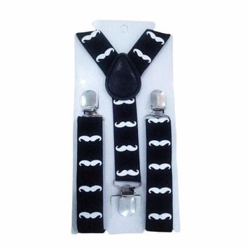 CREYONJ Cute Print Mustache Suspenders Belts For Kid Strap Adjustable Elastic Clip On Baby Boy Clothing Accessories