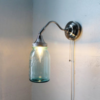 Antique AQUA  Industrial Stainless Steel Gooseneck by BootsNGus