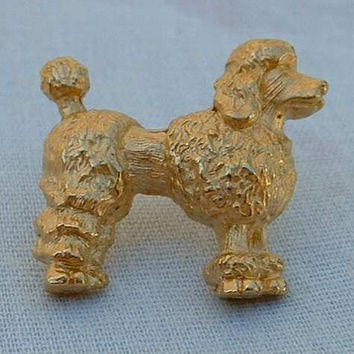 Poodle Dog Lapel Pin Tie Tac Goldtone Figural Jewelry