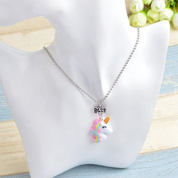 New Mode Style 2Pcs/Set Unicorn Necklace Jewelry Best Friend Forever Charms Kids Choker Necklace For Boys And Girls Gifts