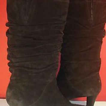 Talbots Slouchy Boots Brown Suede Leather low heels SZ 7 worn 1x NEAR MINT