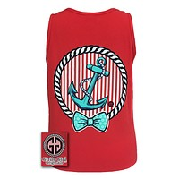 Girlie Girl Originals Collection Anchor Bow Logo Bright Comfort Colors Red Tank Top Shirt