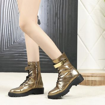 GZ Giuseppe Zanotti Trending Women Gold Leather Side Zip Lace-up Ankle Boots Shoes Best Quality