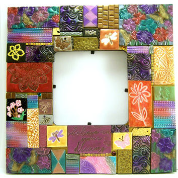 Mixed Midea Mosaic Picture Frame, Flower Frame, Home Decor, Clay Tile Art Frame, Handmade Frame