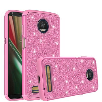 Motorola Moto Z3 Play Case, Moto Z3 Play Glitter Bling Heavy Duty Shock Proof Hybrid Case with [HD Screen Protector] Dual Layer Protective Phone Case Cover for Motorola Moto Z3 Play - Hot Pink