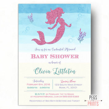 Mermaid Baby Shower Invitation - Under the Sea Baby Shower Invitation - Pink Glitter Baby Shower Invitation - Mermaid Invitation PRINTABLE