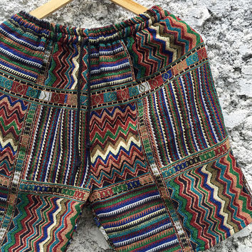 Tribal Shorts Men Woven Aztec Hippie Boho festival Gypsy Vegan Clothing Southwestern Style Beach Summer Burning man Coachella outfit unique