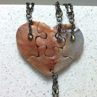 Heart Puzzle Necklace Set of 4 Mixed Metallic Colors with Swarovski Crystals Polymer Clay Jewelry