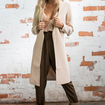 Apricot Casual Warm Woolen Coat Long Coat