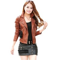 Najia Symbol Women's Black Brown Vintage Faux Leather Motorcycle Jacket Showomen-041