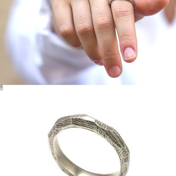 925 sterling silver men wedding band - Unisex silver wedding band ring - Wedding jewelry