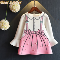 Bear Leader Girls Dress  Autumn Princess Dresses Children Clothing Flare Sleeve Bow Printing Design for Girls Clothes