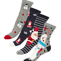 4 Pack Navy Snowman and Santa Socks