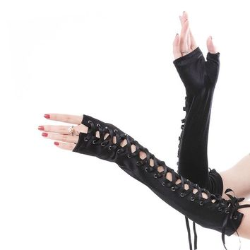 Women Sexy Etiquette Nightclub Gloves Satin Dance Lace-Up Glove
