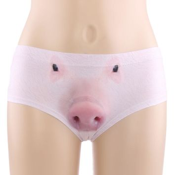 1PC Women 3D Animal Cats Dog Wolf Pig Squirrel Print V-string Briefs Underpant Panties Thong Underwear