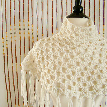 FREE SHIPPING - Crochet Capelet, Cape, Poncho, Shawl, Wrap, Shrug, Collar, Bolero, Cowl, Scarf, Shoulder Warmer - Ivory, Cream, Off-white