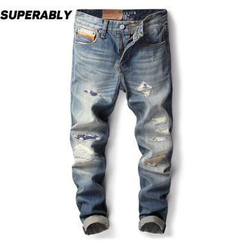 Men Jeans Light Color Slim Fit Destroyed Ripped Jeans Patchwork Pants Skull Embroidery Printed Jeans Men