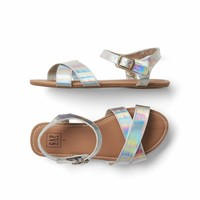 Faux leather crisscross sandals | Gap