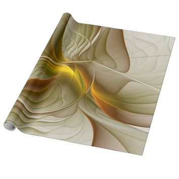 Colors of Precious Metals, Abstract Fractal Art Wrapping Paper