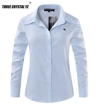 Women Shirt 2017 New Spring Classic Long Sleeve Horse Embroidery 100% Cotton Office Ladies Blouses Stripes Loose Tops Formal