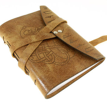 Small Viking Dragon Journal with runes on Antiqued Leather