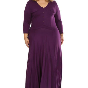 Dreia Plus Size Maxi Dress in Purple
