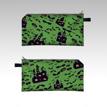 Haunted House Green Pencil Case, Spooky Halloween Fun