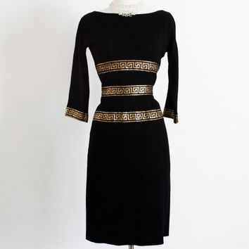 1950's Black Wool Wiggle Dress. Metallic Egyptian Trim // Mid century. Cocktail, Party Dress // Zipper Back, Fitted // Small, Size 2 - 4