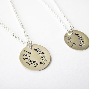 Handstamped big sister little sister necklace set, childrens matching necklace gift set big sis little sis, two sisters necklace best friend