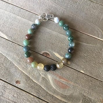 Depression Essential Oils Diffuser Bracelet - Natural Gemstones- Black Lava Stone