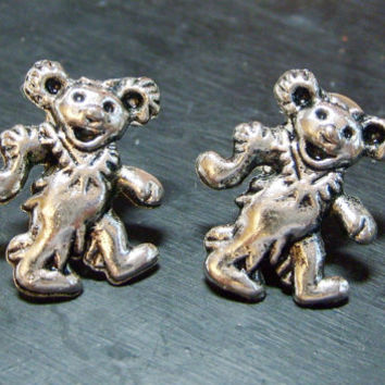Dancing Bear earring - jewelry - earring - post - stud - soldered earring - teddy bear earring - grateful dead - bear earring -gypsy -hippie