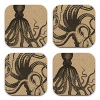 Vintage Nautical Octopus Square Cork 4 pc Steampunk Coaster Gift Set