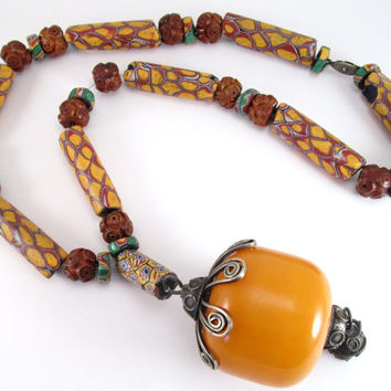Vintage African Trade Bead Necklace w/ Large Butterscotch Resin? Copal or Amber Color Bead, Carved Olive Wood Prayer Beads, Venetian Glass