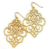 Women's Chic Matte Gold Floral Filigree Bohemian Boho Earrings Lightweight Cutout Big Dangles
