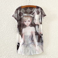 Summer Rabbit Girl Print Bat Short Sleeve Women's Fashion T-shirts [4919401540]
