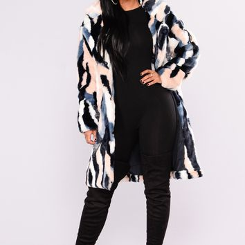 Record Breaking Faux Fur Coat - Ivory/Multi