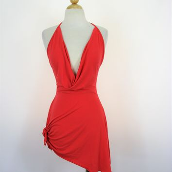 Mapale Coral Jersey Side Tie Draped Halter Dress Cover-up S NWT