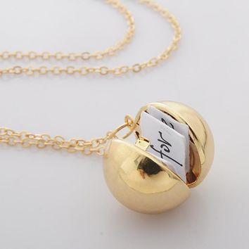 Secret Message Locket Pendant Necklace