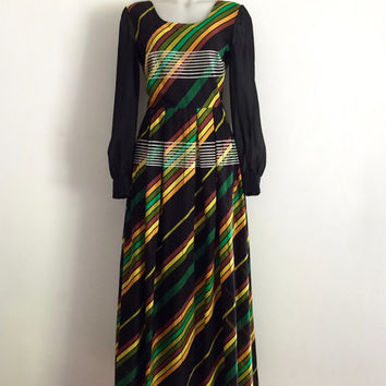 Vintage 1970s 'Van Roth' striped cotton voile maxi dress with sheer bishop sleeves and full pleated skirt