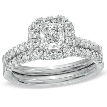 1-1/4 CT. T.W. Cushion-Cut Diamond Frame Bridal Set in 14K White Gold