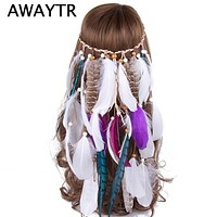 Festival Headband AWAYTR Brand Feather Headpiece Vintage Party Wedding Women Feather Headbands Hot Spring Boho Hair Band