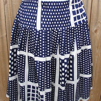 Navy blue and white skirt with square pattern by myliltreasureboxx