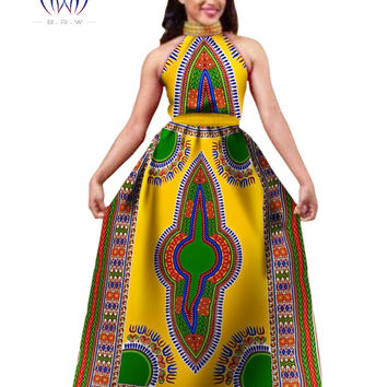 African Clothing Traditional Ladies Dress Bazin Rich Dashiki Maxi Dress Halter Neck Dress Print Women Dress Plus Size 6XL WY565