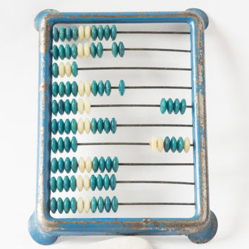 Soviet vintage abacus shabby Russian calculator blue abacus