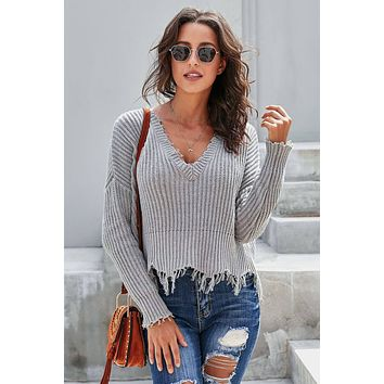Gray Tainted Love Cotton Distressed Crop Sweater