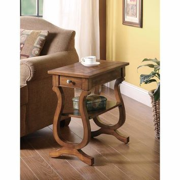 Wooden Chair Side Table With Drawer And Bottom Shelf, Brown By Coaster