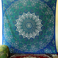 LARGE indian cotton psychedelic star mandala tapestry wall hanging hippie bedding throw bedspread bohemian boho ethnic decor art