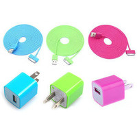 Total 6pcs/lot!USB Data Charging Cable Cord USB Power Adapter Wall Charger For Iphone 4/4s/5 for